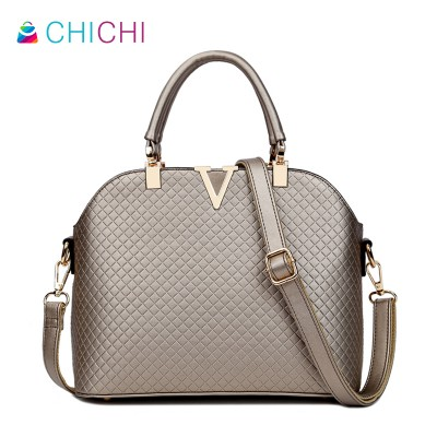 CHICHI 2019 Genuine Leather Shell Bag Ladies Large Tote Fashion Women Messenger Bags Shoulder Elegant Plaid Purses Handbags OL