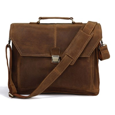 Maletin Hombre Vintage Crazy Horse Leather Mens Briefcase Laptop Business Case Genuine Messenger Bag Men Shoulder Crossbody