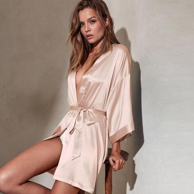 Lady Sexy Kimono Bathrobe Female Summer Robes Solid Sleepwear Lounge Home Dressing Gown Faux Silk Nightdress Summer Negligee
