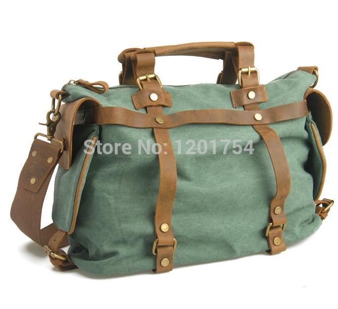 c4ba163caa ... Canvas with Crazy Horse Leather Bag Shoulder Schoolbag Unisex Om-05126.  Image 1