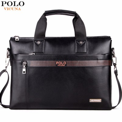POLO VICUNA Simple Dot Design Casual Business Leather Mens Bags For Laptop Luxury Mens Leather Handbags Briefcase Bag Male