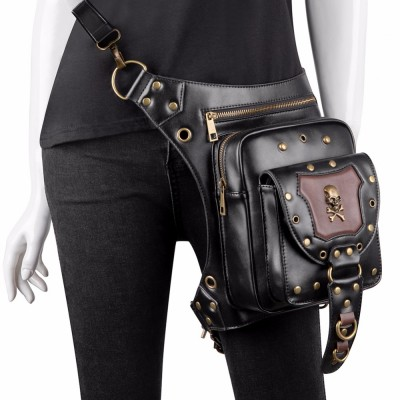 Steampunk Waist Bags Vintage Women Black Leather Street Style Mini Motorcycle Leg Thigh HolsterBag Crossbody Bag