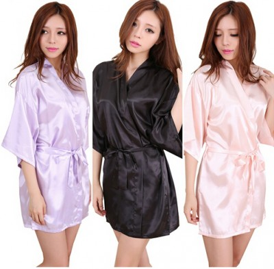 New Satin Bridesmaid Robes,White Faux Silk Wedding Bridal Sisters Dressing Gown/ Kimono Bathrobes