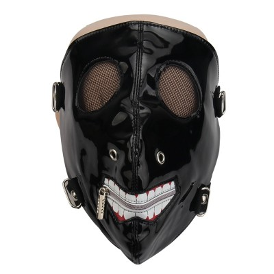Fashion Faux Leather Half Face Mask Punk Motorcycle Biker Cosplay Mask Breathable Anti-Dust Sports Protective Zipper Mouth Mask