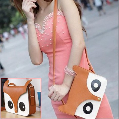 5pcs( ASDS Girls Brown Fashion Pu Leather Retro Owl Fox Bag Messenger Crossbody Handbag