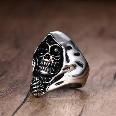 Punk Grim Rebels Reaper Death Hooded Skull Ring for Men Stainless Steel Motorcycle Biker Bike Male Jewelry Halloween Jewellery
