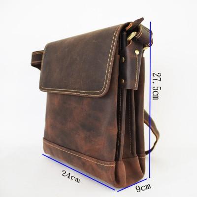 Men's Crazy horse leather shoulder bags Brown Durable Cow leather messenger bag Vintage casual bag iPad cowhide satchel boys