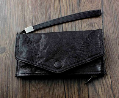 Men's black Leather HandBag Long Wallet Purse w belt Biker Rock EMO