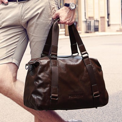 Fashionable business travel luggage bags for Man GENUINE LEATHER High-capacity sling bag over - night bag