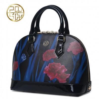 Women bag 2019 new genuine leather bag fashion printed black shell bag quality women leather handbags shoulder bag