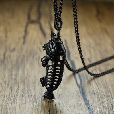 Mens Exaggerated Fish Bone Pendant Necklace With Fishing Hook Stainless Steel Punk Male Jewelry in Gold Black Silver 24 Chain