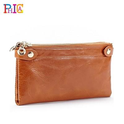 Fashion Long Design Card Wallet For Women Genuine Leather Female Coin Purse Double Zipper Women Wallets Fashion Clutch Bags