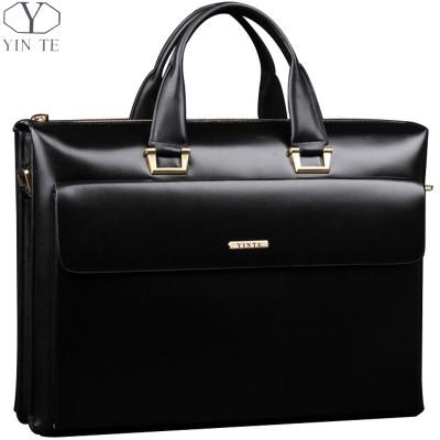 YINTE Leather Men's Briefcase Business Men Black Handbag High Quality Messenger 14inch Laptop Bag Men's Totes Portfolio T8182-3