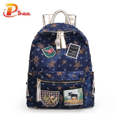 American apparel denim backpack Canvas Women's Backpacks Ladies Girls Backpack Colorful Students School Bags For Teenagers Girls black blue denim backpack