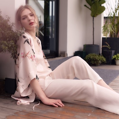 Elegant Dressing Gown Pajamas Suit Ladies Sleepwear Women Fashion Morning Gown Wedding Robe 3pcs set