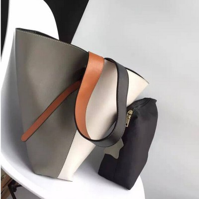 2019  TWO TONE LARGE CABAS TOTE - women bag  Vertical Leather Bucket  women messenger bags Soft leather shoulder bags