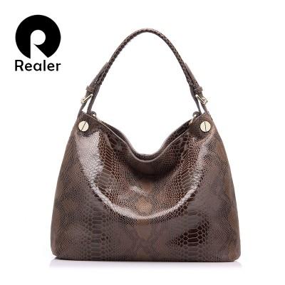 REALER brand genuine leather bag women fashion serpentine prints leather handbags female large shoulder bags hobos tote bag