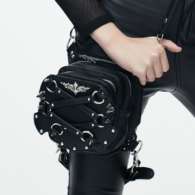 Steampunk Thigh Bags Gothic Steampunk Women Waist Bags Retro Black Leather Messenger Bag Rock Goth Leg Pack Holster Hip Belt Shoulder Bags