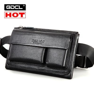 Brand Logo ! Multifunctional Genuine Leather Waist Pack For Men Chest Pack Bag Travel Mobile Phone Belt Bag Money Pouch