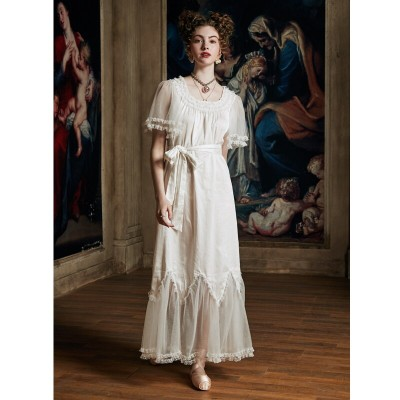 Luxury Sleepwear Nightgown Women Summer  Lace Cotton nightdress Elegant Lady Long Dress  Bride Nightgown European medieval style