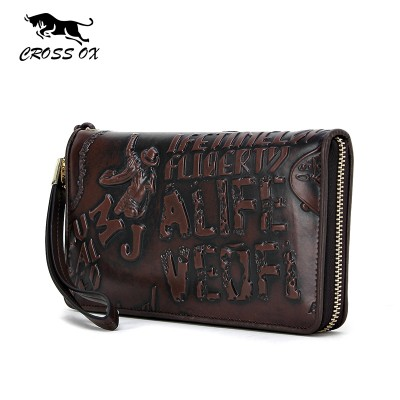CROSS OX Summer New Arrival Genuine Leather Men's Wristlet Wallets For Men Clutch High Quality Embossing Card Organizer WL087M