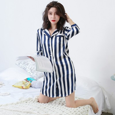 Spring Summer Womens Stripes Print Nightshirt Satin Sleepwear Female V-neck Silk Thin Nightgowns Casual Brief Nightdress