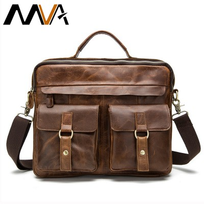 Genuine Leather Men Bag Casual Handbags Messenger Men Crossbody Bag Men'sTravel Bags Tote Laptop Briefcase Bags for Man 2019 MVA