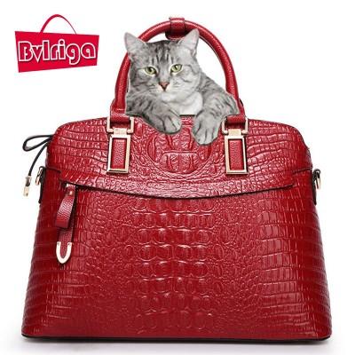 BVLRIGA Crocodile bag women leather handbag designer handbags high quality large women shoulder messenger bag bolsos tote bags