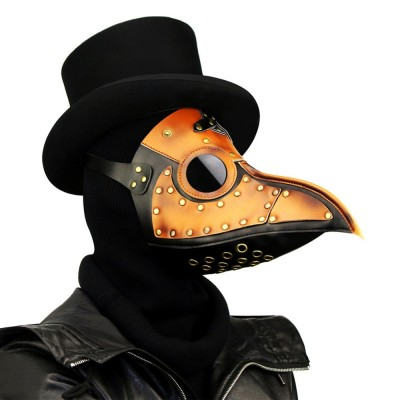 Men / Women Gold PU Leather Vintage Gothic Plague Doctor Mask Steampunk Bird Beak Mask Funny Halloween Masks Anime Cosplay Props