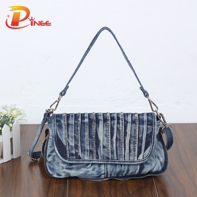 Vintage Denim Shoulder Handbags Fashion Blue Jeans Bag Women's Vintage Small Denims Shoulder Bag Crossbody Messenger Bag For Lady