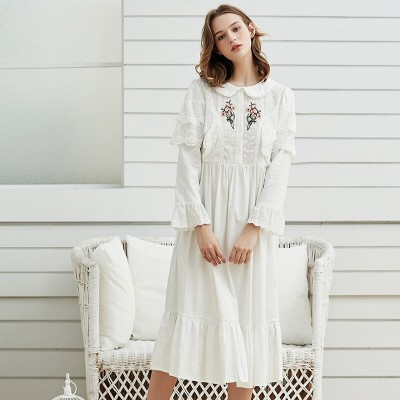 Gentlewoman Nightown Cotton Embroidery Nightgowns Woman  Elegant White Sleepwear Spring Nightdress Ladies