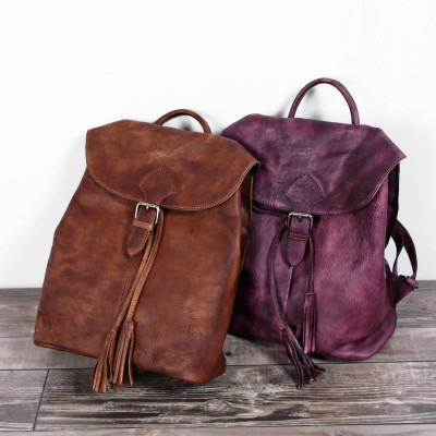 Vintage Genuine Leather Backpack Fashion England Style School Backpack Brand Designer Real Skin Women Large  Pack Bag Cowhide