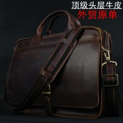Luxury Genuine Leather Men's briefcases Business Bag Leather messenger bag shoulder bag For Men laptop briefcase