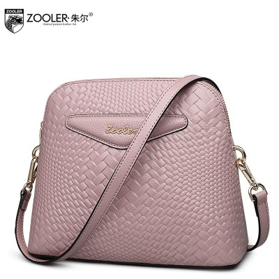 ZOOLER New Superior cowhide leather bag brands fashion Lingge weaving Genuine Leather women shoulder messenger shell bag
