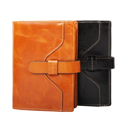 Garanteed 100% Oil Wax Genuine Leather Women Short Wallet  Bifold Purse Brand Design Fashion Vintage Money Bag With String 2012