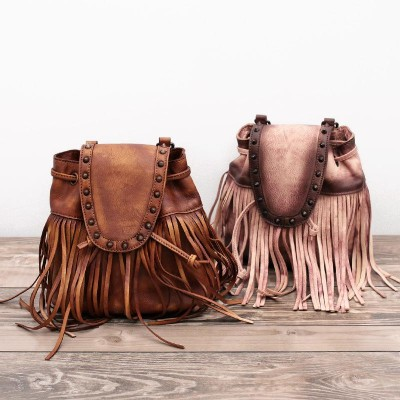 Printing Mochila Feminina Women School Tassel Backpack Vintage Style Bags With For Woman Real Cowhide Female Solid Travel Packs