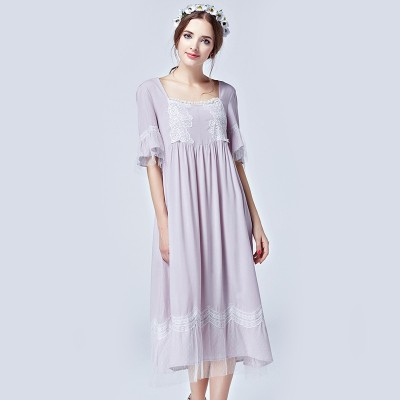Summer Long Sleepwear Women Half Sleeve Square Collar Nightgowns 2016New Vintage Home Dress For Lady Plus Size Night Gown Female