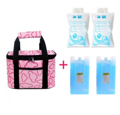 Fashion Thermal Insulated Cooler Lunch Bag Outdoor Picnic Tote Handbag Beverage Bento Lunch Box Bag with 2 Ice Bag 2 Frozen Pack