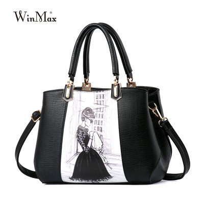 new trend leather women bags handbag women famous brands sac a main women handabg vintage lady tote beauty printing shoulder bag