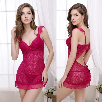 New Women Sexy Lingerie Sleepwear Hallow Out Lace Underwear Nightwear Lace Silk Nightgown Summer Night Dress WI358