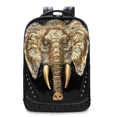 Gothic Steampunk Unique backpack cool bag steampunk fashion Men Travel Backpack Men Elephant Animal Bag Laptop Computer Bag Fashion Black Gold Silver Rivet Leather Bag
