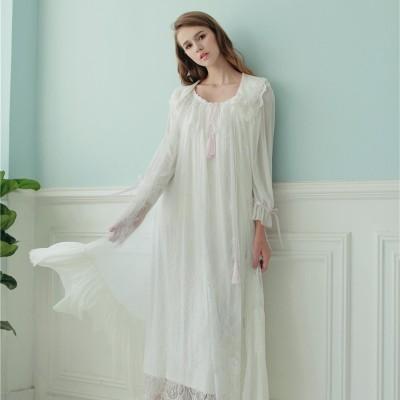 Women Robe Lace Gown Long Sleepwear Set Royal Nightwear Spring Summer Nightgown Set Wedding Robe Two Pieces Set