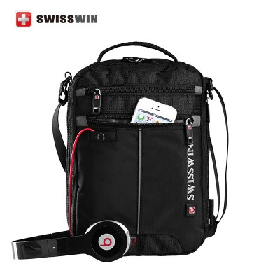 Swisswin Messenger Shoulder Bag 11 inch Black Bag for Ipad handy crossbody bag for students Casual Oxford Messenger Satchel