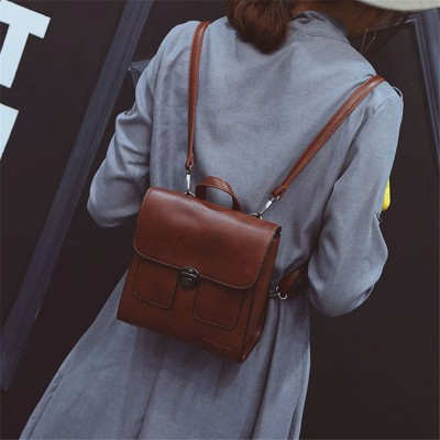Fashion simple shoulder bag leisure retro simple small pu leather mini backpack vintage style package for teenagers girls
