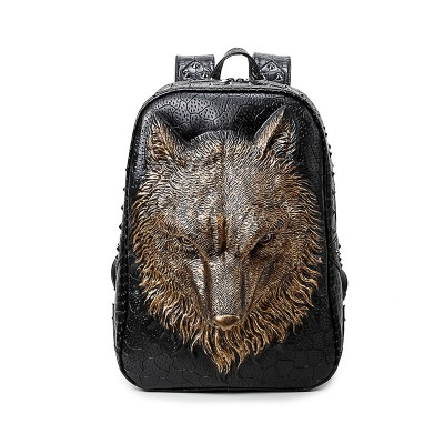 3D Wolf Backpack Women Girls Laptop Backpack Gothic Steampunk Unique backpack cool bag steampunk fashion Animal Travel School Computer Rivet Bags Vintage Rock PU Leather Backpacks