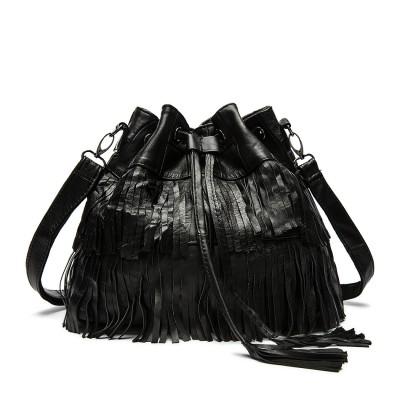 Luxury Handbags Women Black Bags Designer Leather Sheepskin Bucket Tote Tassel Fringed Genuine Shoulder & Crossbody Soft Handbag