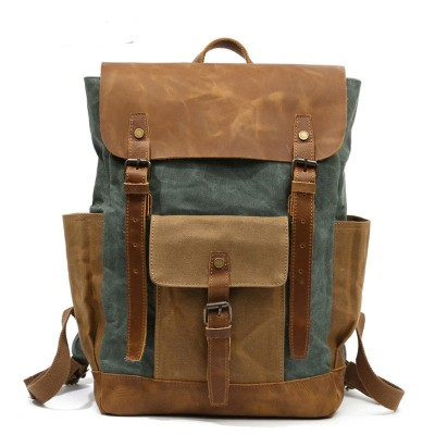 20-35 Litre Women Backpack Retro Contrast Oil Wax Waterproof Canvas Bag Travel Backpack Computer Schoolbag Large Capacity