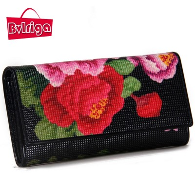 BVLRIGA Europe and American style long Womens wallets and purses brand clutch bag luxury designer evening bag printing flowers