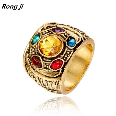 Marvel Avengers thanos Rings pendant men Infinity Gauntlet bague homme anillos mujer women crystal Jewelry