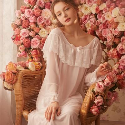 Princess Nightgown Women Sleepwear dress Ladies Pink White Sleep Lounge Vintage Nightdress Royal Casual